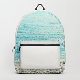 Color block Sea  Modern blue sea ocean beach photography stripes Backpack