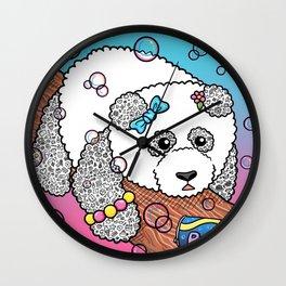 Cute Panda Bubble Pop Doodle pink version Wall Clock