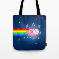 bee and puppycat Tote Bags featuring PuppyCat by NicoleGrahamART