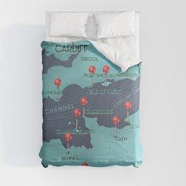English Channel Nautical Map Comforters