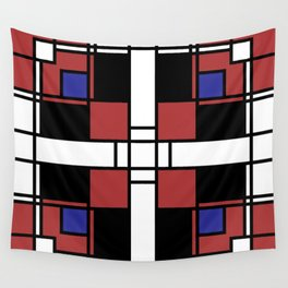 Neoplasticism symmetrical pattern in Well Read (red) Wall Tapestry