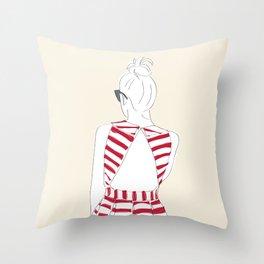 Red & White Striped Fashion Girl Throw Pillow