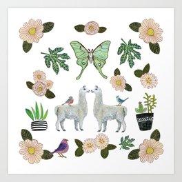 Llama and Luna Moth Art Print