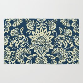 damask in white and blue vintage Rug