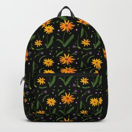 Yellow Daisy Gouache Pattern with a black background Backpack