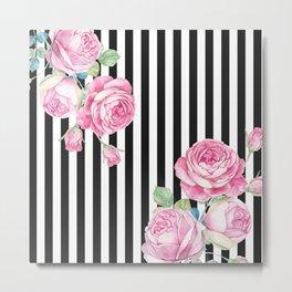 Black white blush pink watercolor floral stripes Metal Print