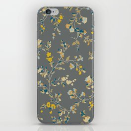 vintage floral vines - greys & mustard iPhone Skin