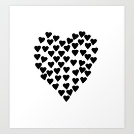 Hearts Heart Black and White Art Print