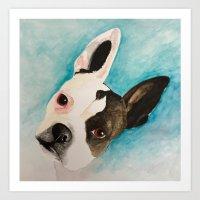 boston terrier Art Prints featuring Boston Terrier  by MeggaChurch