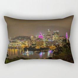 Pittsburgh Skyline Pink Cancer awareness Rectangular Pillow