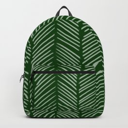 Forest Green Herringbone Backpack