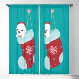 Christmas bichon frise 3 Blackout Curtain