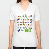 world cup V-neck T-shirts featuring WORLD CUP KITTEHS 2014 by Helenasia