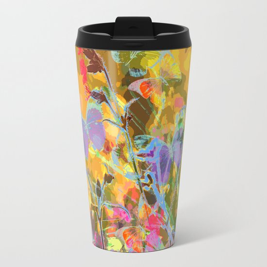 Butterflies flying in meadow - lovely colors and details - summer mood Metal Travel Mug