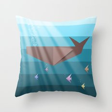 LIVING SEA (origami animals whales) Throw Pillow