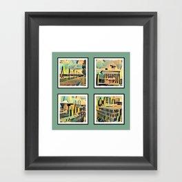 Kansas City Landmarks in Retro Fifties Style Framed Art Print