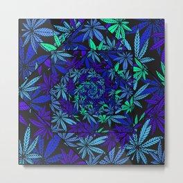 Aquatic Shades Marijuana Pot Leaf Kaleidoscope Mandala Metal Print
