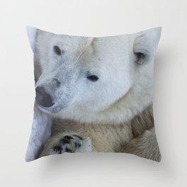 Funny Sleepy Polar bear close-up. Throw Pillow
