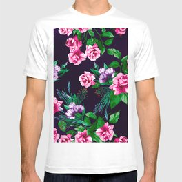 Red Purple Rose Floral Pattern T-shirt