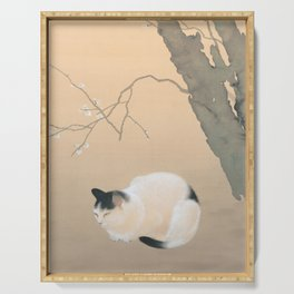 Cat and Plum Blossoms Japanese Painting Serving Tray