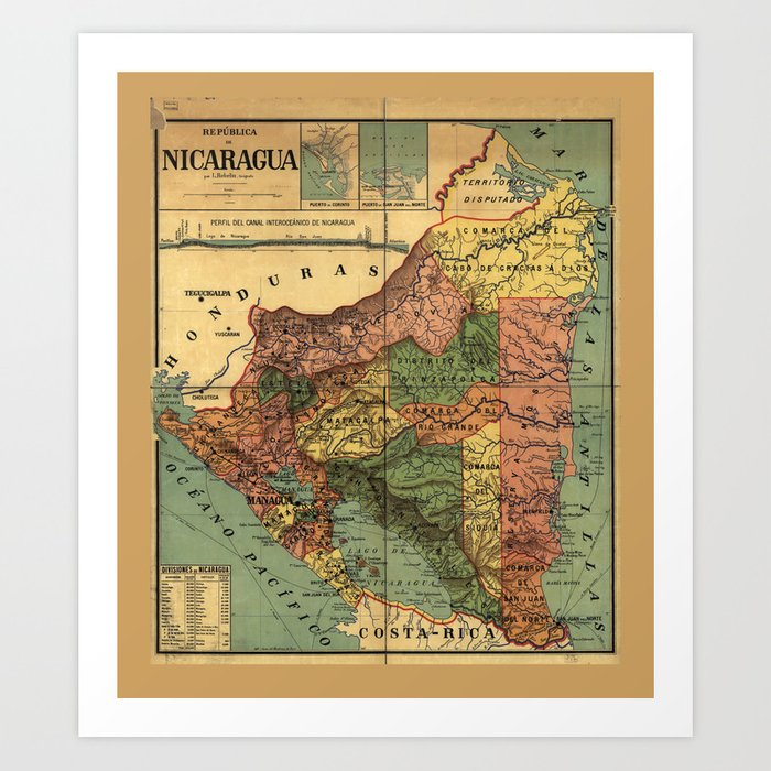 República de Nicaragua Map (1913) Art Print by thearts