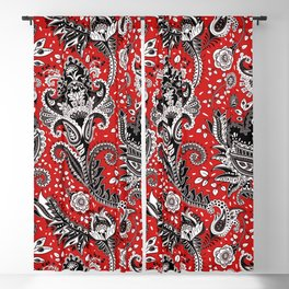 Red Black & White Floral Paisley Blackout Curtain