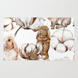 Cotton Flower & Rabbit Pattern 01 Rug