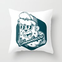 chewbacca Throw Pillows featuring Hipster Chewbacca by Redwane