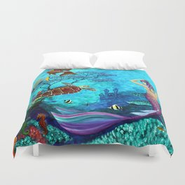 A Fish of a Different Color - Mermaid and seaturtle Duvet Cover