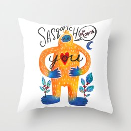 Sasquatch Loves You Throw Pillow