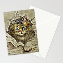 VINTAGE KITTEN DRAWING PRINT Stationery Cards