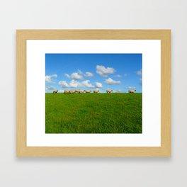 Landscape with sheeps Framed Art Print