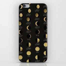 The Lunar Cycle • Phases of the Moon – Black & Gold Palette iPhone Skin