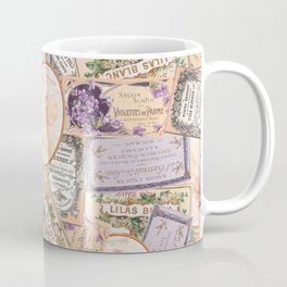 Vintage Labels in Purple + Peach Coffee Mug
