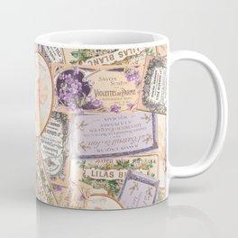 Vintage Labels in Purple + Peach Coffee Mug