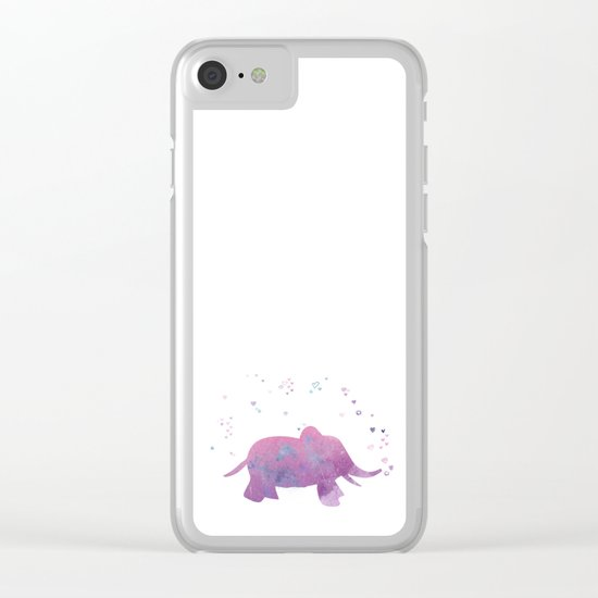 Love is in the air - Elephant animal watercolor illustration Clear iPhone Case