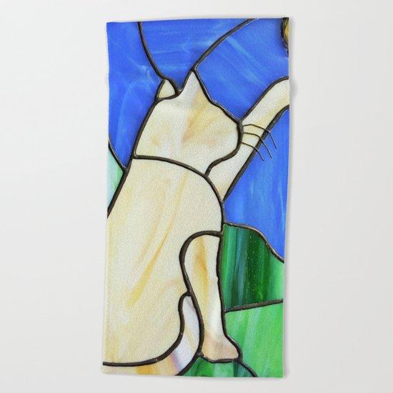 Stain glass cat Beach Towel
