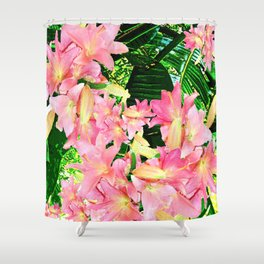 PALMS AND PINK LILY BLOSSOMS Shower Curtain
