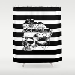 Gorgeous Skull With Flower Crown - Black and White Stripes Shower Curtain