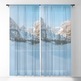 Beautiful winter scenery at Tamar valley, Slovenia Sheer Curtain