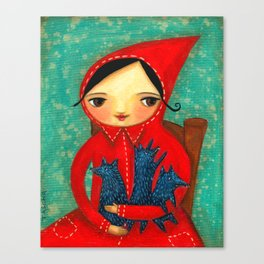 Little Red Riding Hood with pack of baby wolves Canvas Print