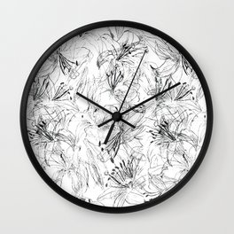 lily sketch black and white pattern Wall Clock
