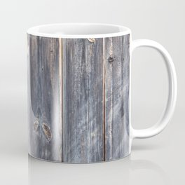 Wooden texture of shabby board with rusty nails. Coffee Mug