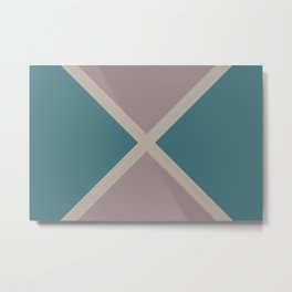 Pink-Purple Aqua Taupe Gray Stripes X Pattern 2021 Color of the Year Accent Shades Metal Print