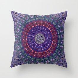 Blue Mandala Hippie Design Throw Pillow
