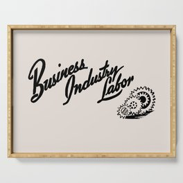 Business Industry Labor with Gears in Black Serving Tray