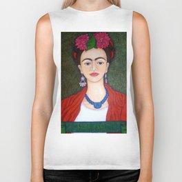 Frida portrait with dalias Biker Tank