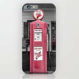 Vintage Route 66 Antique Fire Chief Red Gas Pump iPhone Case