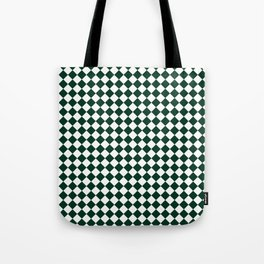 Small Diamonds - White and Deep Green Tote Bag