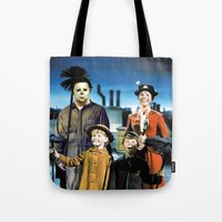 michael myers Tote Bags featuring Michael Myers in Mary Poppins by Luigi Tarini